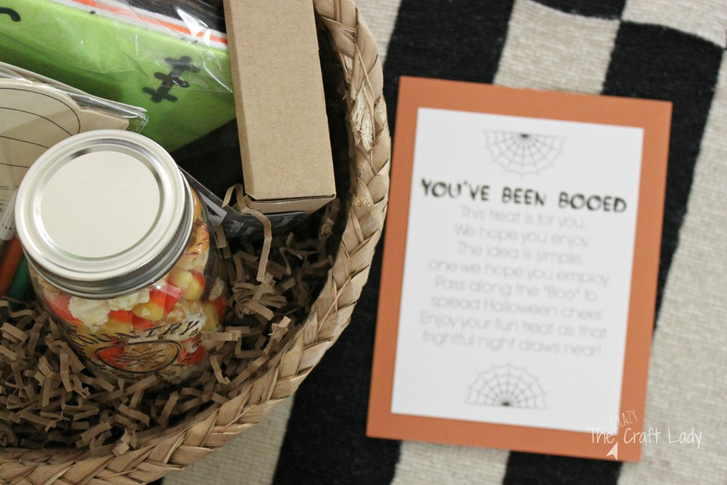 "Halloween Boo Basket with a free printable. Share a ""family craft night"" themed Boo Basket filled with goodies with a friend or neighbor for a fun crafty Halloween tradition."