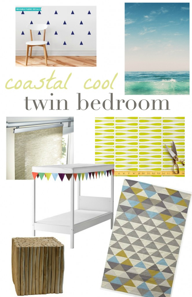 A Coastal Cool Twin Bedroom Makeover - the vision board and plan