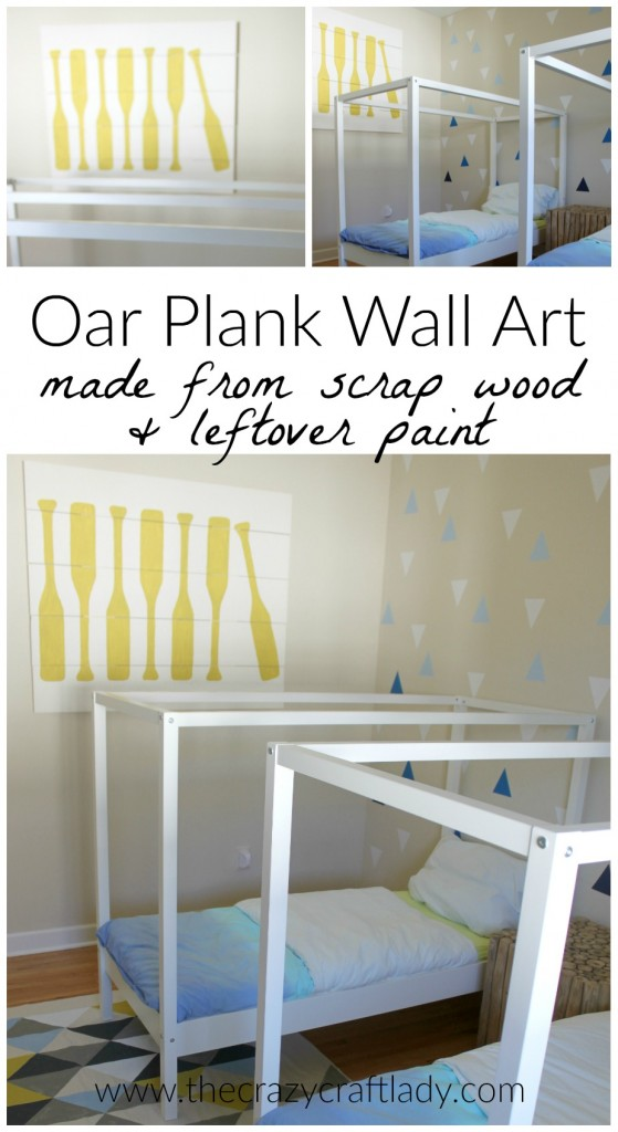 DIY Oar feature wall art using scrap wood and leftover paint. What a genius and thrifty DIY home decor project!