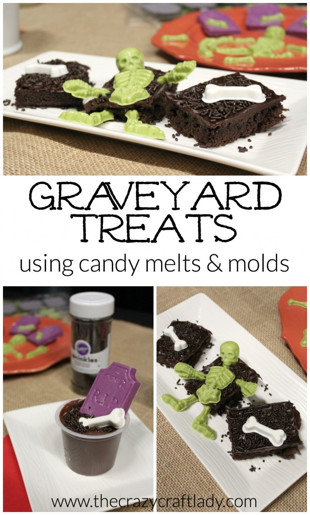 Easy graveyard treats using candy melts and molds.