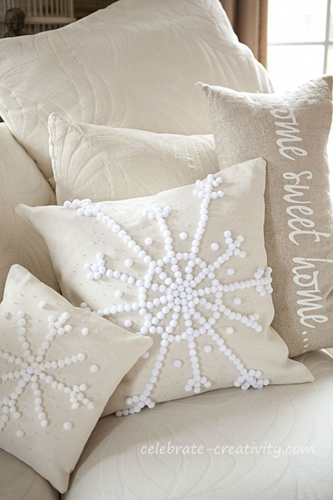 DIY Pottery Barn snowflake pillow