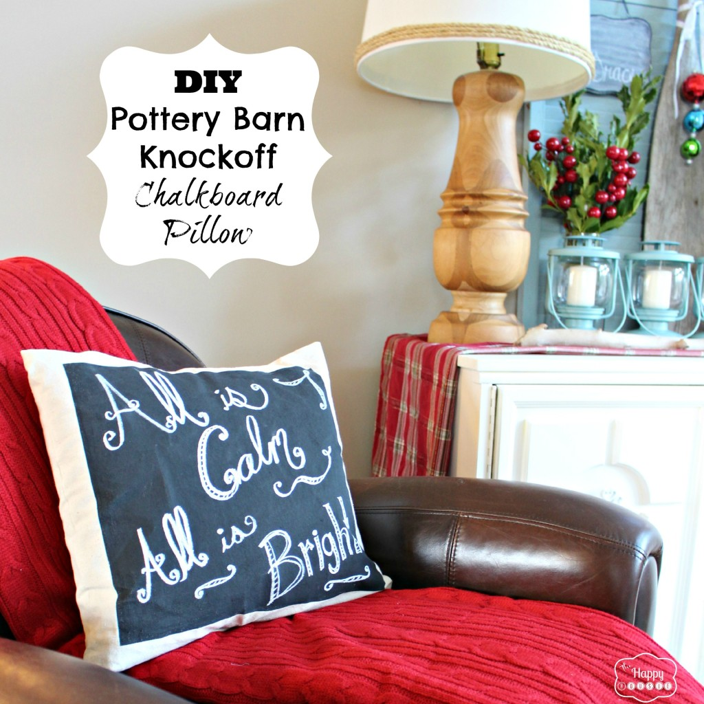 DIY Pottery Barn knockoff chalkboard pillow