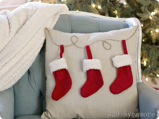 easy pottery barn knock off stocking pillow
