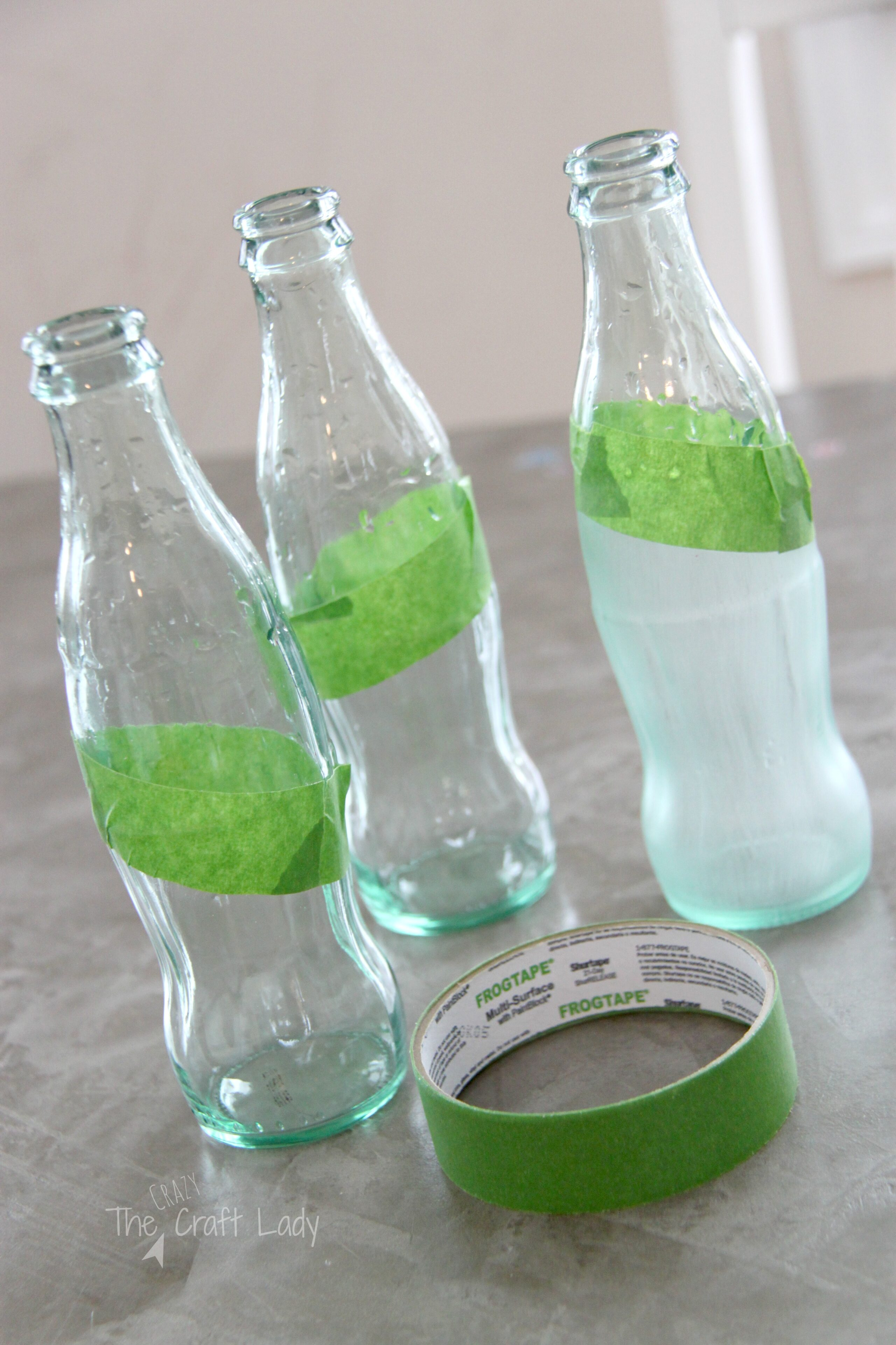 Sea glass painted coca cola bottles the crazy craft lady for Paint to use on glass