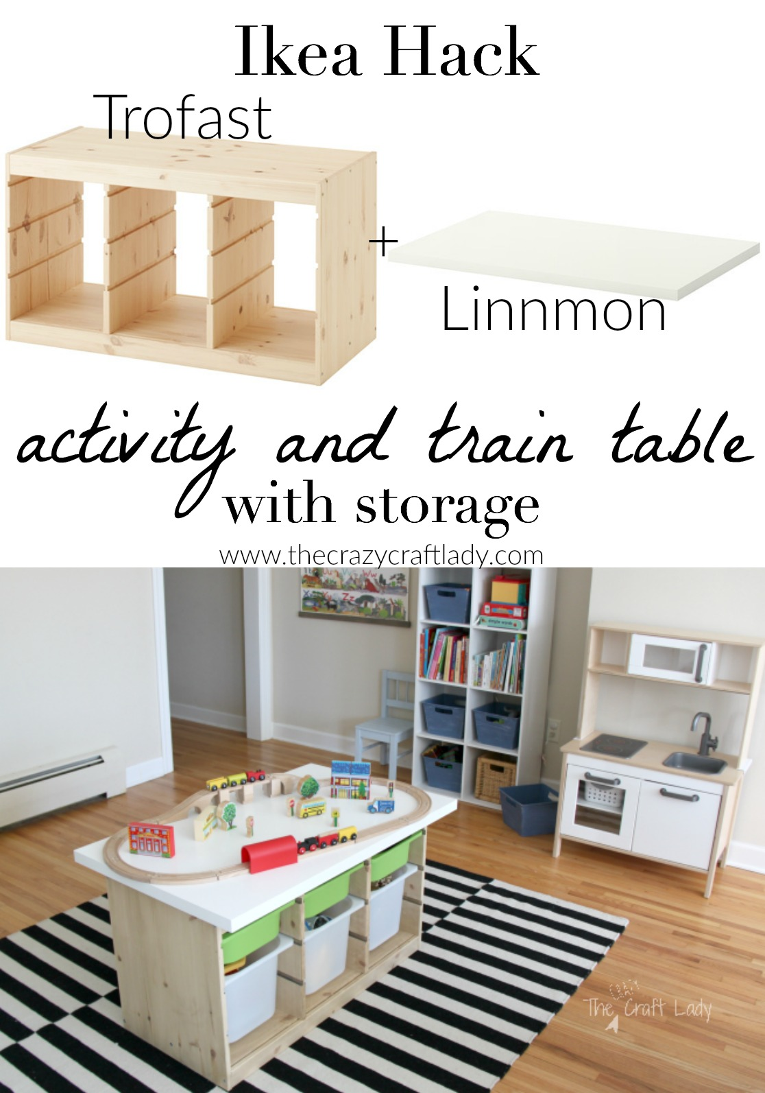 An Ikea Hack custom train and activity table with TONS of storage. This is such  sc 1 st  The Crazy Craft Lady & An Ikea Hack Train u0026 Activity Table - The Crazy Craft Lady