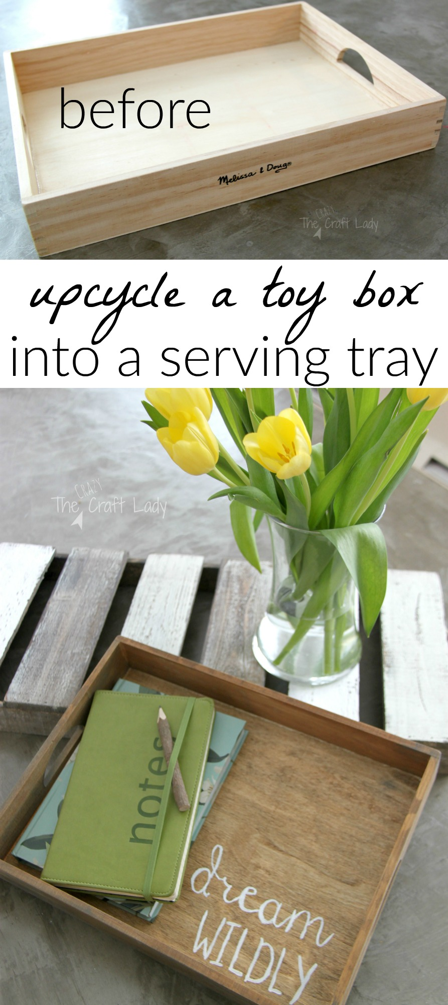 Decorative Tray from a Wooden Toy Box - The Crazy Craft Lady