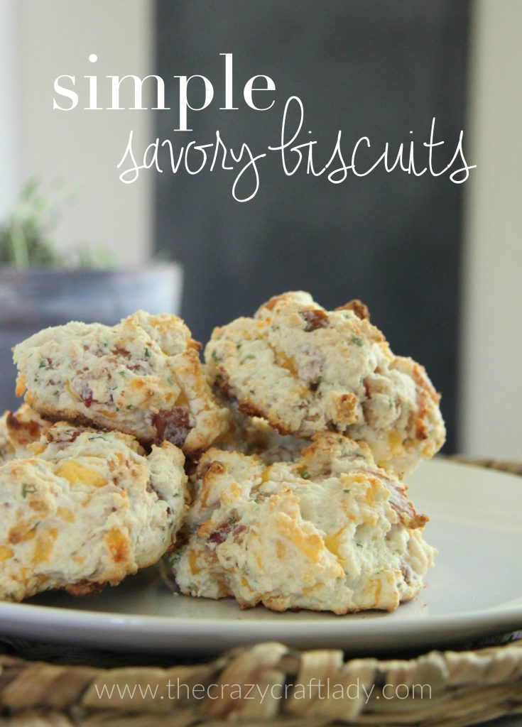 Simple savory biscuits, made with bacon and cheddar, are an all-purpose breakfast or brunch food. They come together in a snap with just 5 ingredients, and are perfect for a lazy Saturday when paired with fresh fruit. That's how we ate them, anyway!