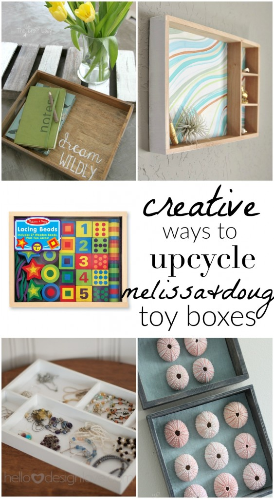 Don't throw away those wooden Melissa & Doug toy boxes! Repurpose them with these creative upcycle ideas for fun home decor or organizing... Brilliant!
