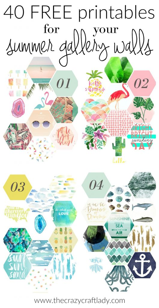 40 FREE summer printables for gallery walls - Summer is here! Swap out the pictures in your gallery walls with any of these 40 FREE printables. Use them in DIYs, crafts, or home decor this summer!