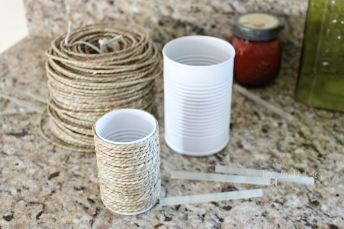tutorial- how to upcycle tin can craft with spraypaint and rope