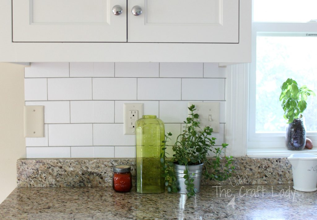 White subway tile temporary backsplash the full tutorial the crazy craft lady - Rental home decor pict ...