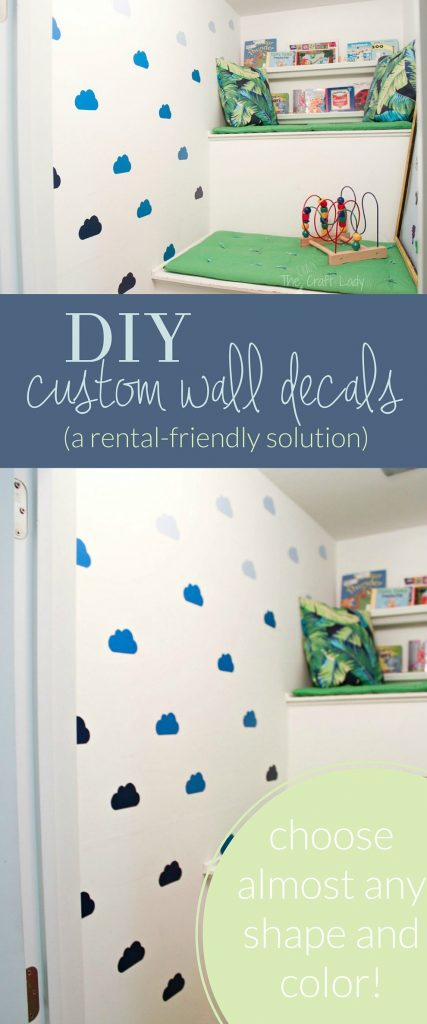 DIY Cloud Wall Decals -how to make custom wall decals in almost any shape or color - no need for a special cutting machine