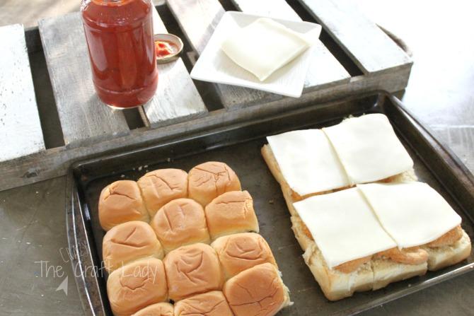 easy sliders - made with chicken nuggets, mozzarella, and marinara