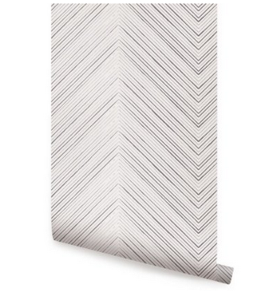 Chevron Lines Grey Peel & Stick Fabric Wallpaper Repositionable