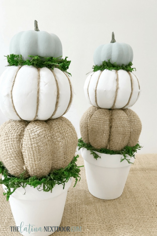 DIY Farmhouse Style Pumpkin Topiaries