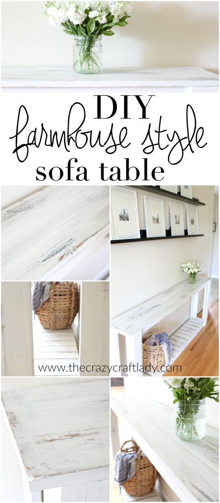 DIY Farmhouse Style Sofa Table - this is seriously the easiest table to build. Just 1x3 and 1x4 boards, wood glue, and nails. Finish with chalk paint for the perfect rustic finish