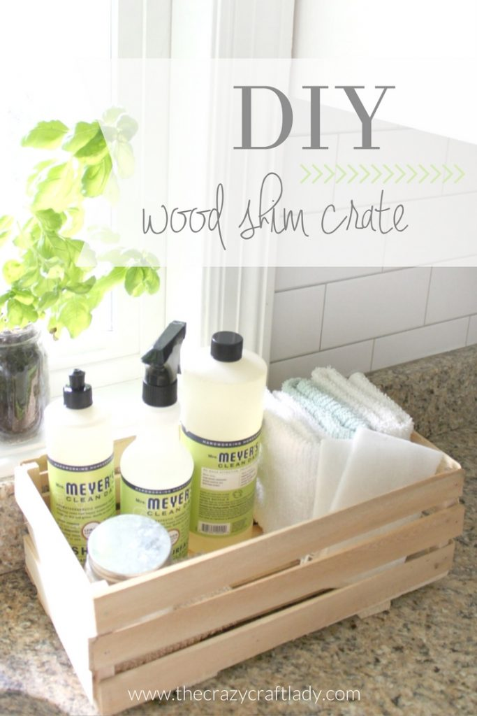 DIY Wood Shim Crate - make a simple, rustic crate to keep your cleaning supplies organized and your counters clean