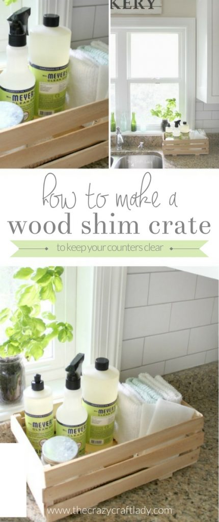 DIY Wood Shim Crate - make this simple, rustic crate to keep your cleaning supplies organized and your counters clean