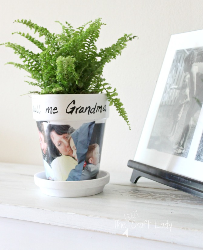 DIY photo clay pot craft - the perfect handmade gift for a grandparent