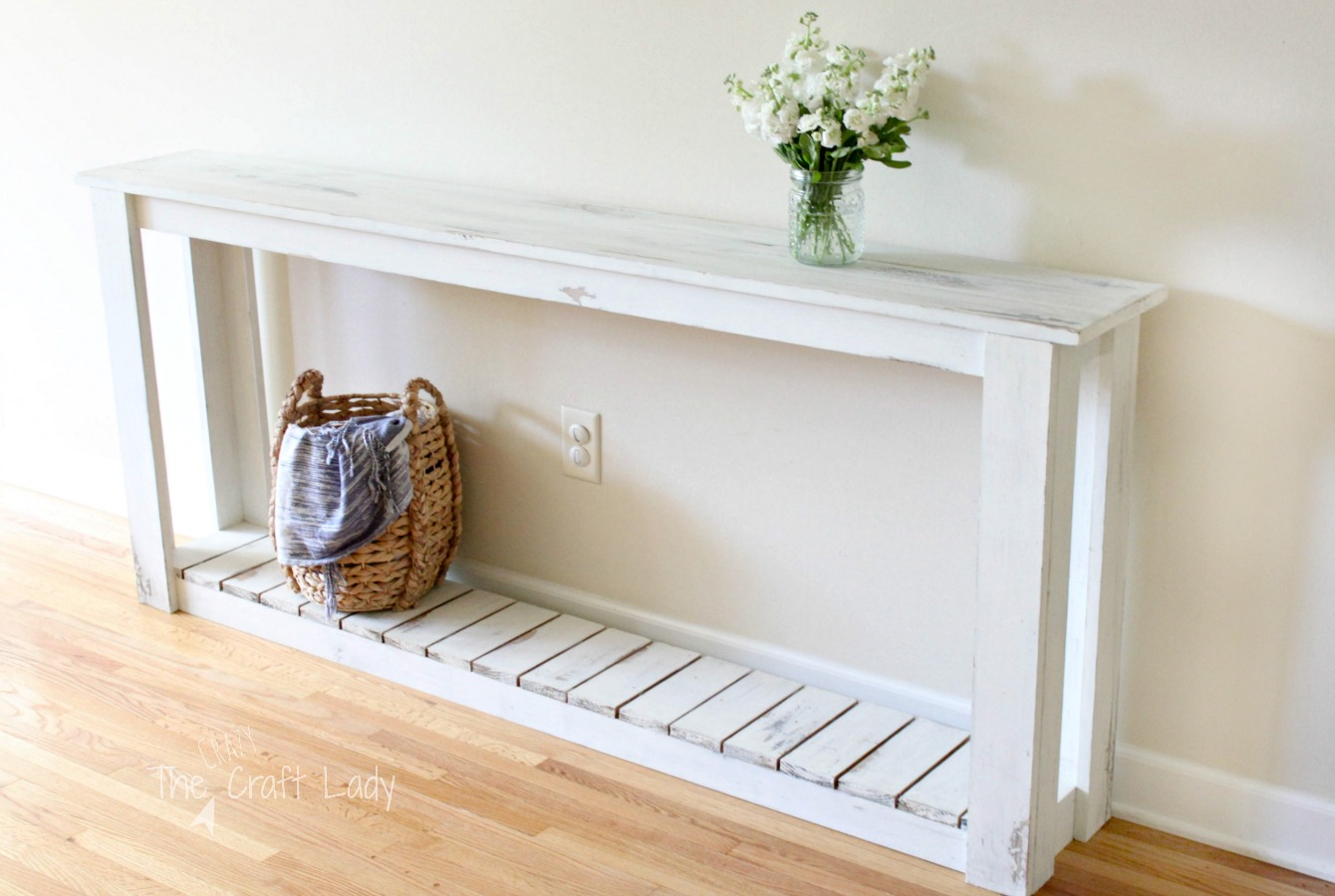 Diy sofa table farmhouse style the crazy craft lady geotapseo Gallery