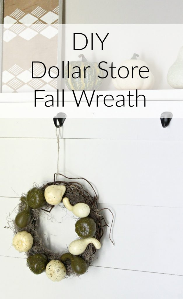 Dollar Store Fall Wreath with Mini Pumpkins and Gourds