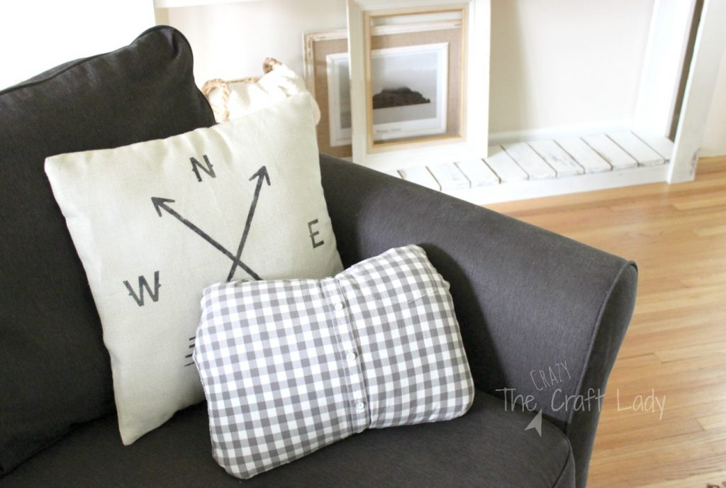 No Sew Pillow Cover From An Old Shirt The Crazy Craft Lady Impressive Button Up Shirt Pillow Covers
