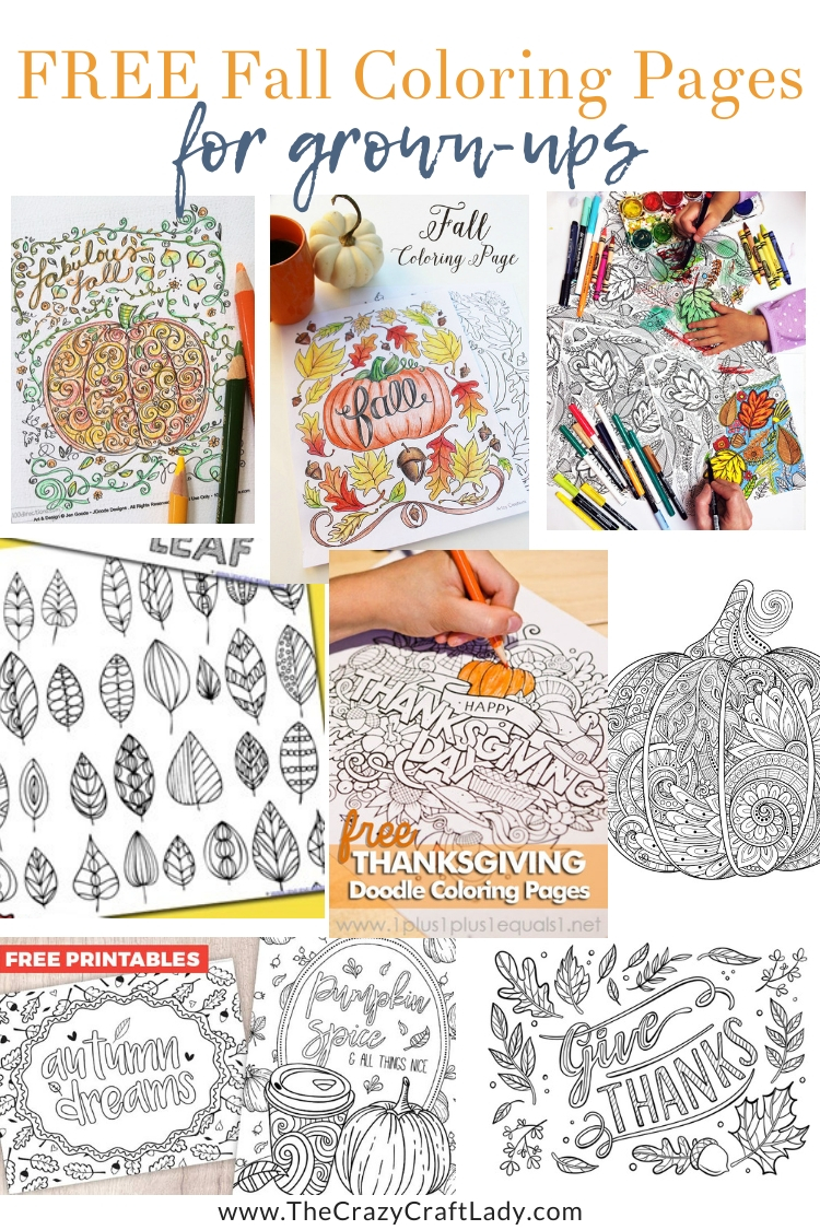 FREE fall coloring page sheets for grown ups - Autumn themed adult coloring pages