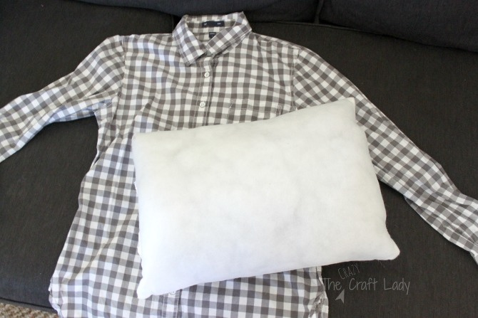 No Sew Pillow Cover From An Old Shirt The Crazy Craft Lady Simple Sewless Pillow Cover