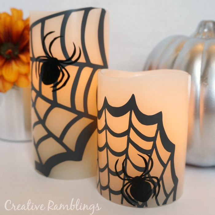 Pottery Barn halloween inspired craft - spider web candles