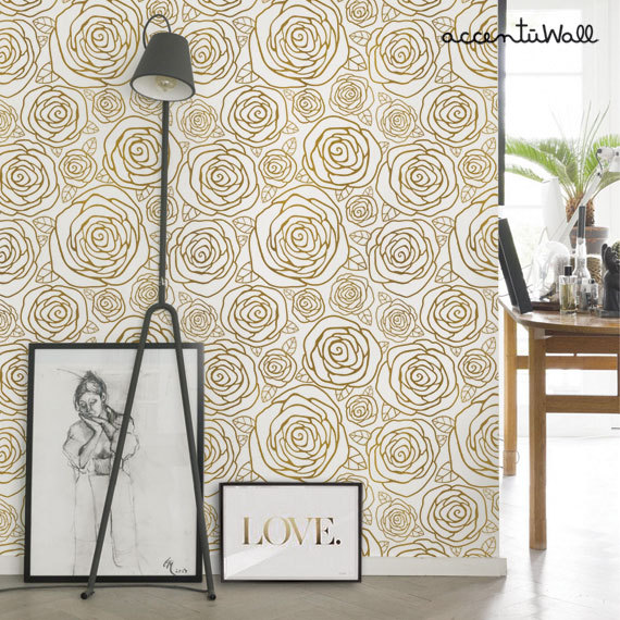 Rose Gold Peel & Stick Fabric Wallpaper Repositionable