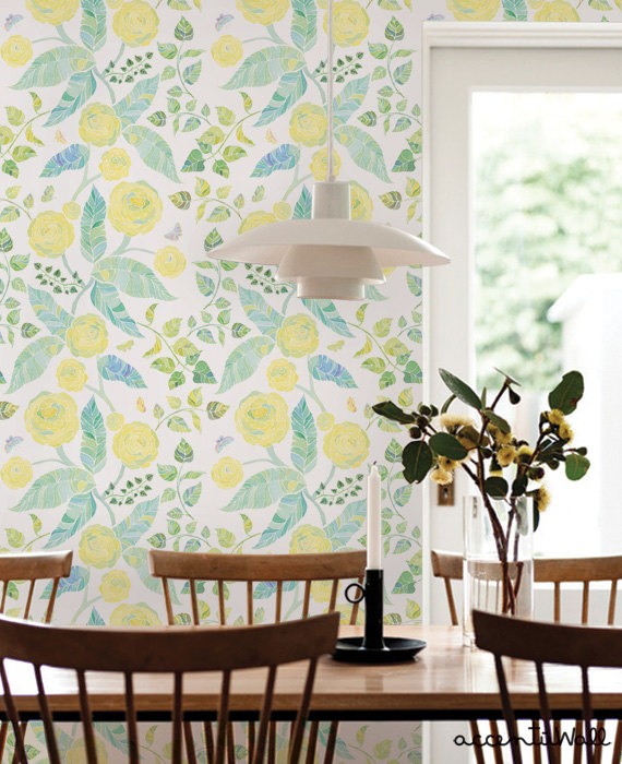 Spring Garden Flowers Yellow Peel & Stick Fabric Wallpaper Repositionable