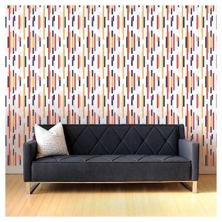 Tempaper Self-Adhesive Removable Wallpaper Bars - Pink, Blue and Yellow