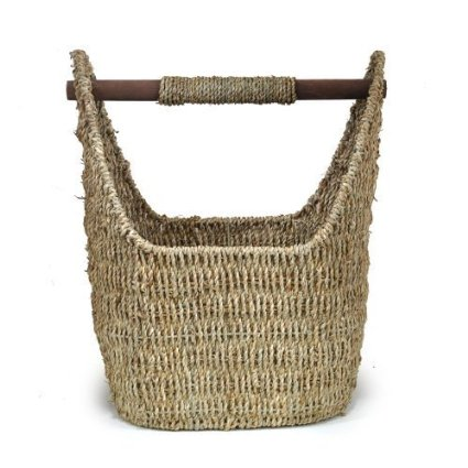 decorative storage basket with wooden handle