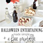 Halloween Entertaining made Simple - make hot dog mummies and spiders on a stick - download and print this FREE printable Withces Brew drink tag