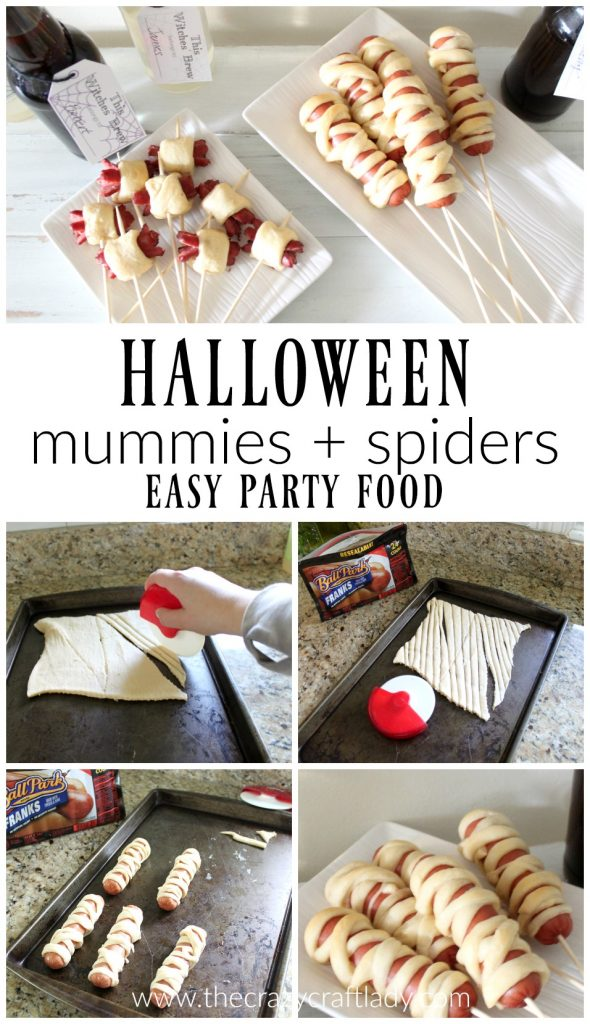 Halloween Entertaining made simple with the perfect party food on a stick - spiders and hot dog mummies