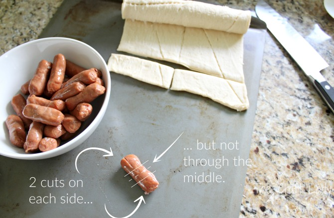Halloween Entertainins made Simple - little smokies and crescent rolls to make snack spiders