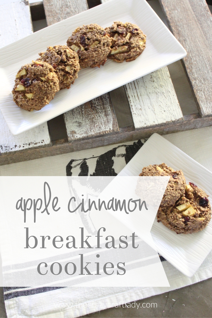 Apple Cinnamon Breakfast Cookies - these delicious cookies are the perfect on the go breakfast solution. Made with oats, flax, and whole wheat flour, this really is a healthy cookie recipe!