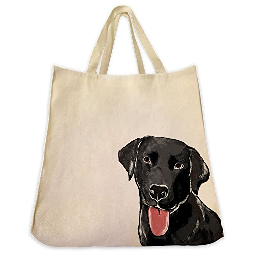 Black Labrador Retriever Dog Tote - Extra Large Cotton Twill Eco Friendly Tote Bag