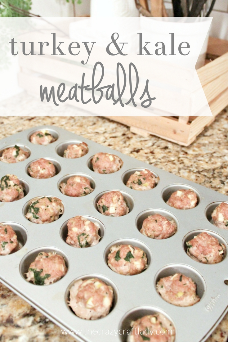 The easiest ever mini meatballs baked in a mini muffin tin - turkey meatballs are made with kale and apple to sneak in a healthy and tasty punch - make one batch and freeze another