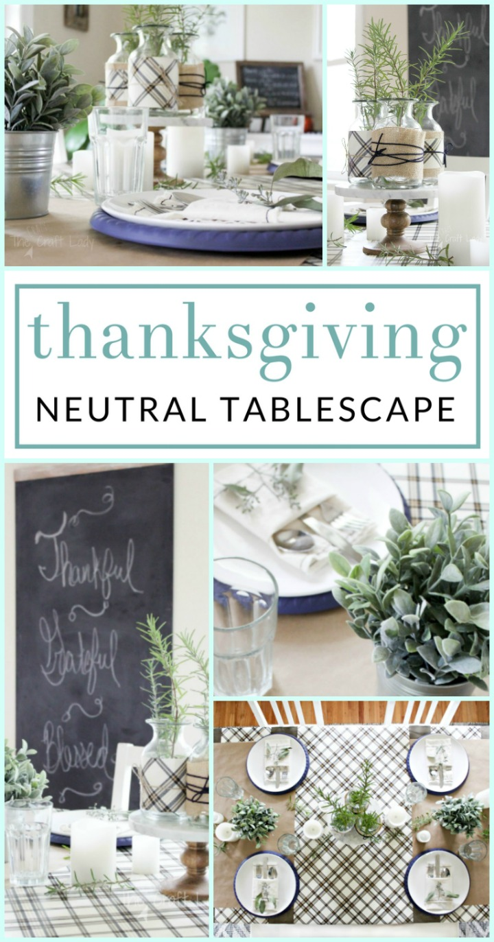 Come tour this farmhouse style Simple Thanksgiving Tablescape. You will love the neutral touches and inexpensive decorating tips to make your Thanksgiving table shine!