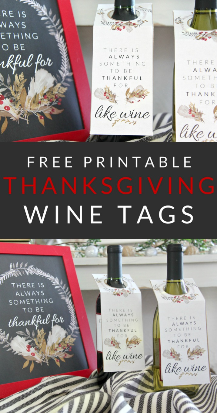 photo relating to Free Printable Wine Tags for Bridal Shower known as Thanksgiving Wine Tags Printable - The Nuts Craft Girl