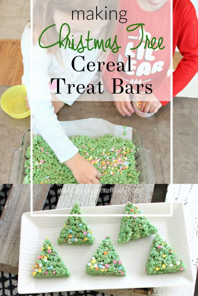 Christmas Tree Rice Krispie Treats - making Christmas treats with the family - the perfect snow day activity