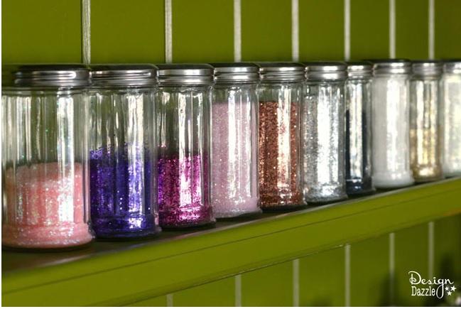 Dollar Store Glitter Organization
