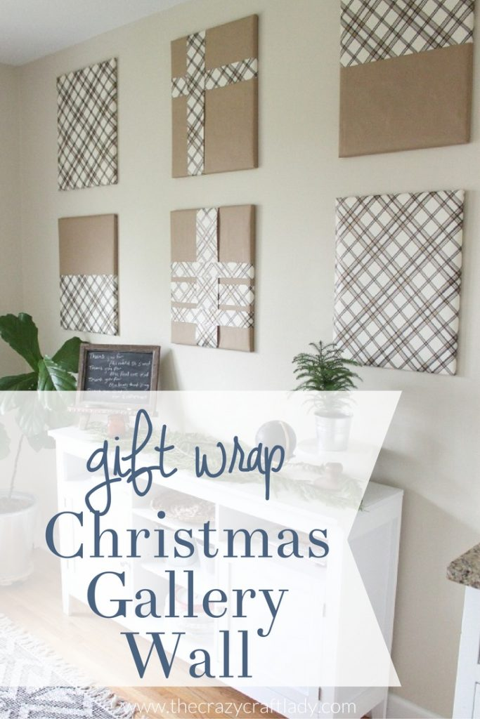 Simple Christmas Gallery Wall Idea using Gift Wrap and Picture Frames