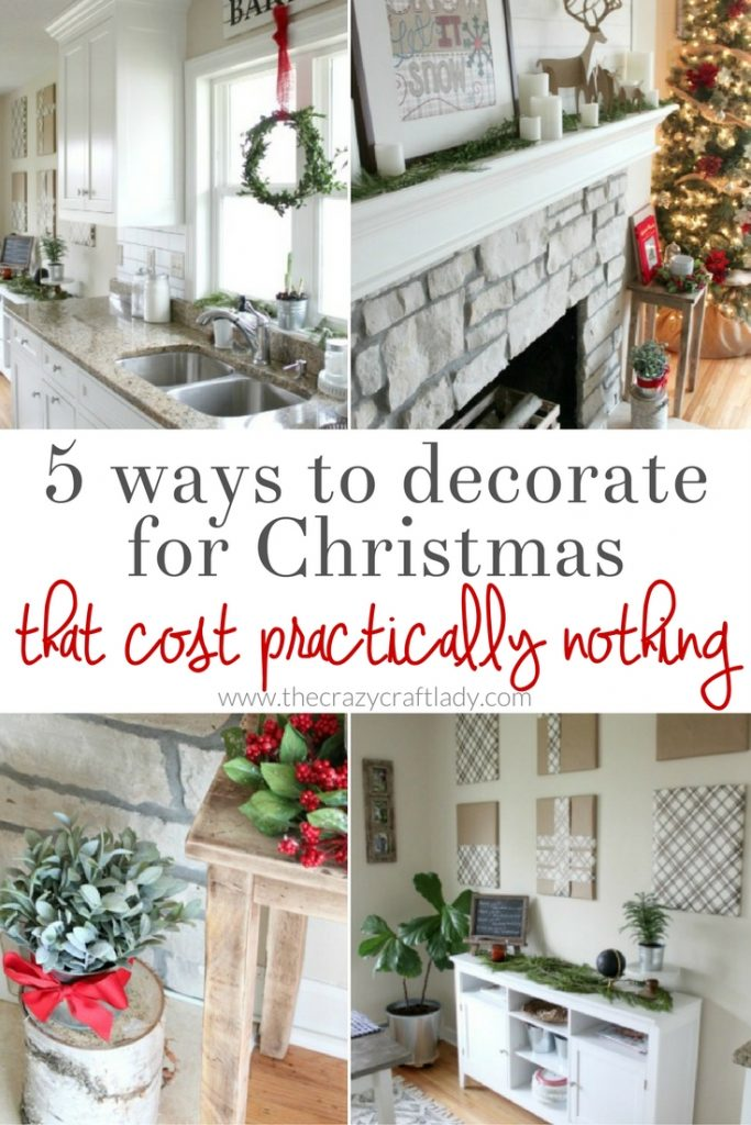 Tips for Inexpensive Christmas Decor - 5 ways to decorate for Christmas that cost practically nothing - Full of farmhouse Christmas inspiration!