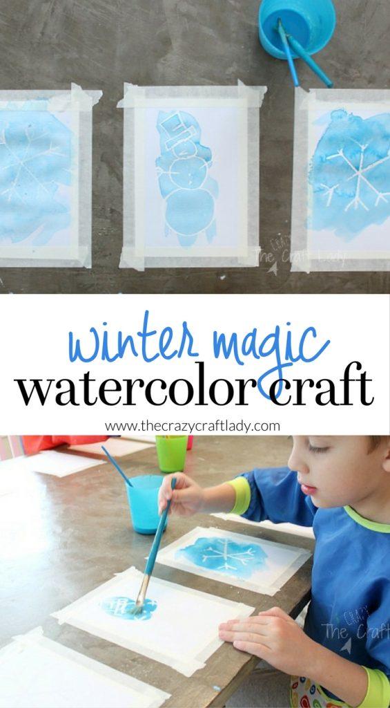 Winter Magic Watercolor Craft for Kids - an indoor winter creative activity