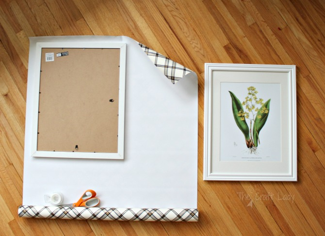 Wrap picture frames in gift wrap for Christmas decor