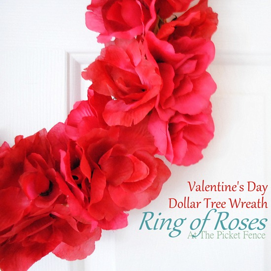 Dollar Store Valentine Ring of Roses Wreath