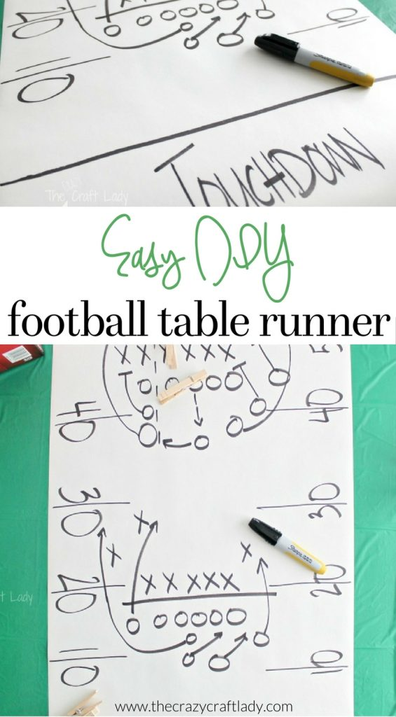 make this easy DIY Football Play Table Runner for your football party
