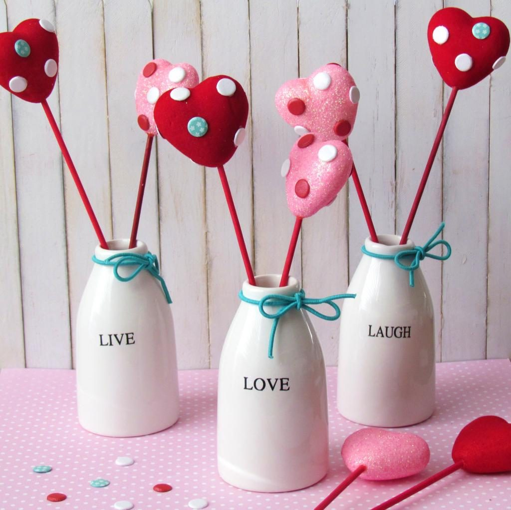 Valentines hearts on a stick